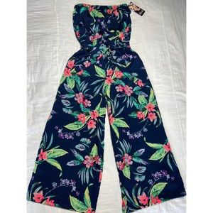 Hint of Blush Navy Floral Strapless Jumpsuit Sz S